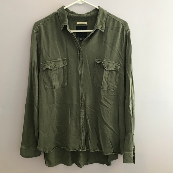 633c404e American Eagle Outfitters Tops - American Eagle Military Green Boyfriend  Fit Shirt